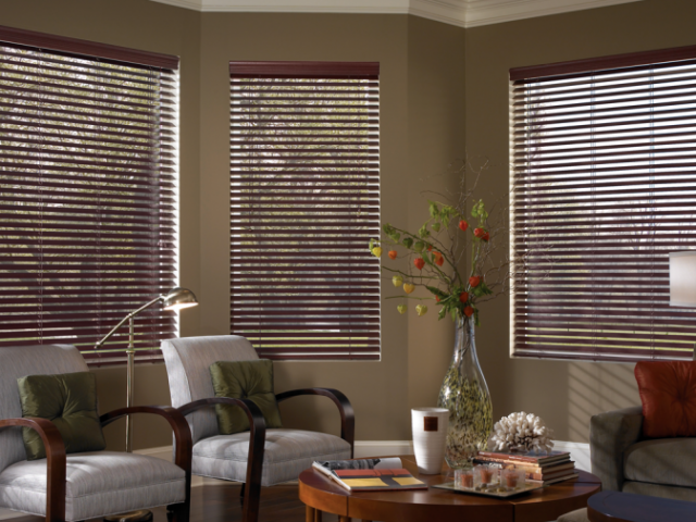 Dark color Fauxwood Blinds in a living room