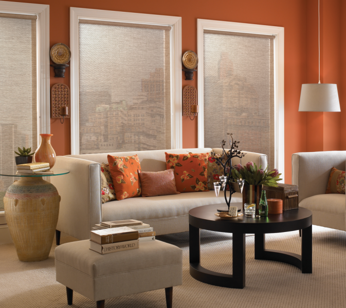 Neutral Roller Shades in an orange color palette living room