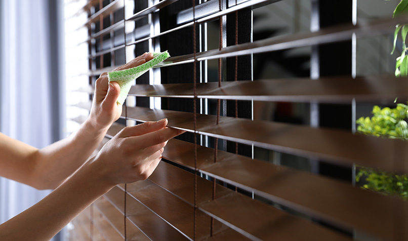 Woman Cleaning Horizontal Blind